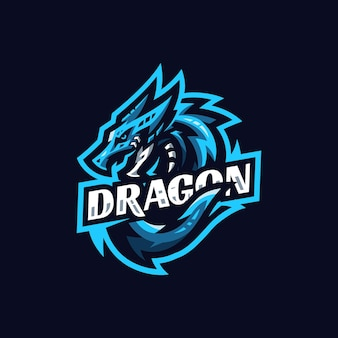 Modèle de conception de logo blue dragon esport