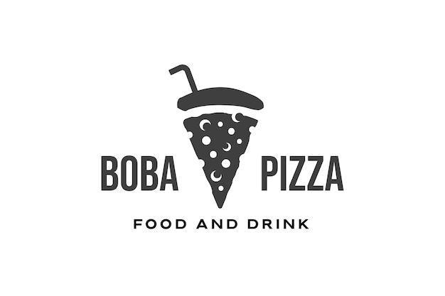 Modèle de conception de logo de boisson à bulles et pizza