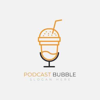 Modèle de conception de logo de boisson à bulles podcast