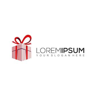 Modèle de conception de logo de boîte cadeau