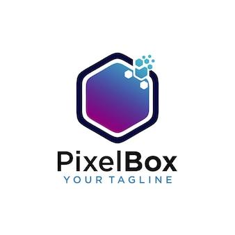 Modèle de conception de logo de boîte de pixel