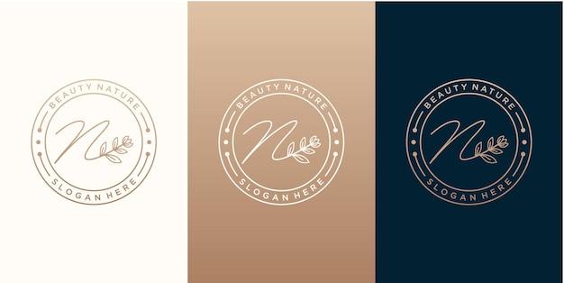 Modèle de conception de logo de botani naturel de luxe