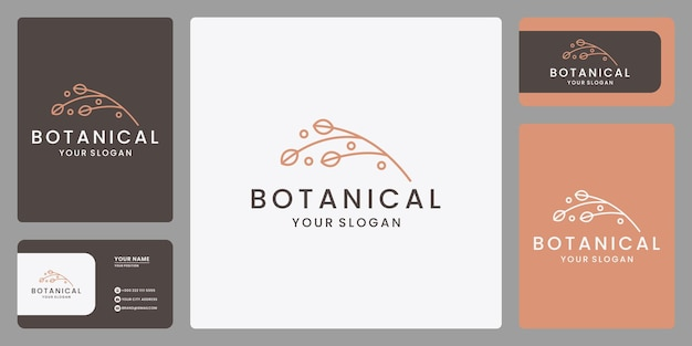 Modèle de conception de logo botanique élégant minimaliste. vecteur de carte de visite