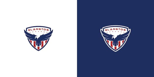 Modèle de conception de logo de bouclier d'aigle