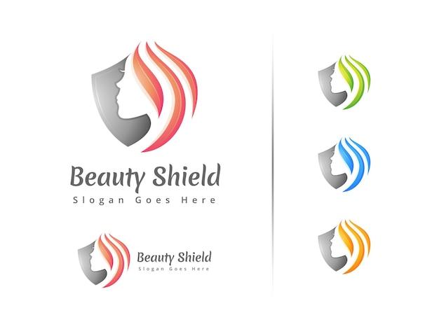 Modèle de conception de logo de bouclier de beauté moderne