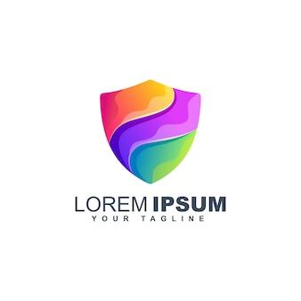 Modèle de conception de logo de bouclier isolé gradient de liquide