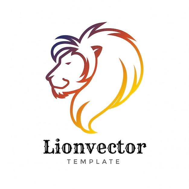 Modèle de conception de logo de bouclier de lion