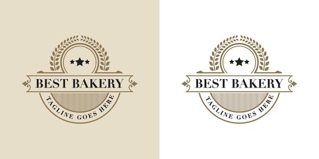 Modèle De Conception De Logo De Boulangerie De Luxe Et De Style Rétro Vintage Vecteur Premium