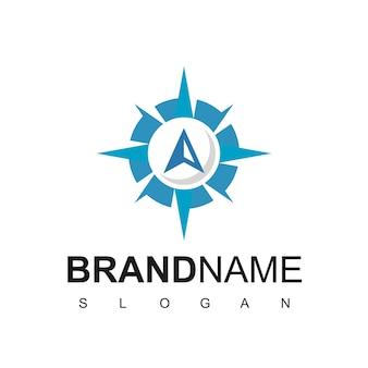 Modèle de conception de logo de boussole, guide de voyage, logo de navigation