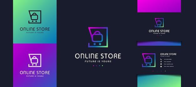 Modèle de conception de logo de boutique en ligne avec un concept moderne et futuriste en dégradé coloré