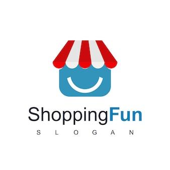 Modèle de conception de logo de boutique en ligne, shopping fun, store symbol