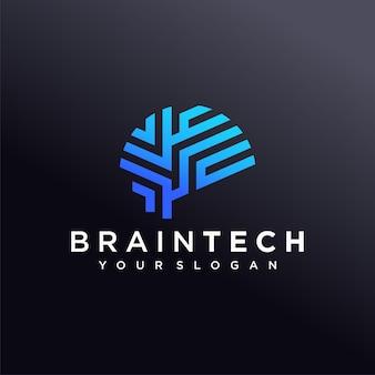 Modèle de conception de logo brain tech