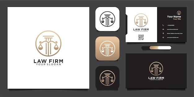 Modèle de conception de logo de cabinet d'avocats de luxe et carte de visite