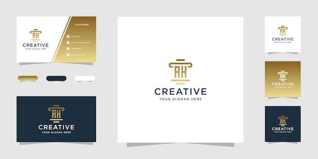 Modèle de conception de logo de cabinet juridique ah et carte de visite