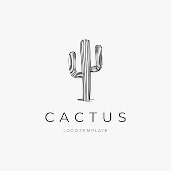 Modèle de conception de logo de cactus