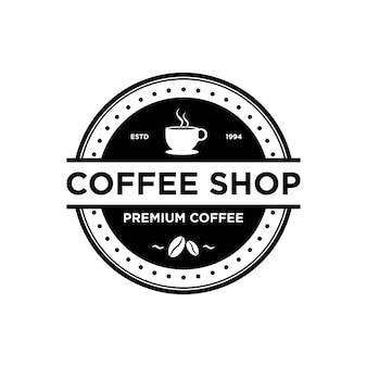 Modèle de conception de logo de café. café rétro