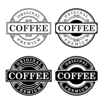 Modèle de conception de logo de café noir et blanc