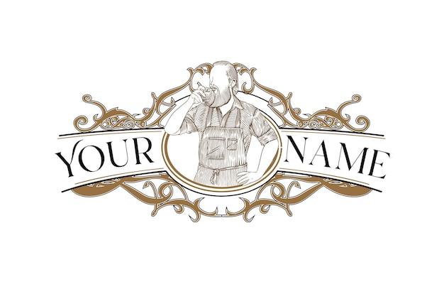Modèle de conception de logo de café de style victorien pour votre marque
