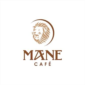 Modèle de conception de logo de café tête de lion