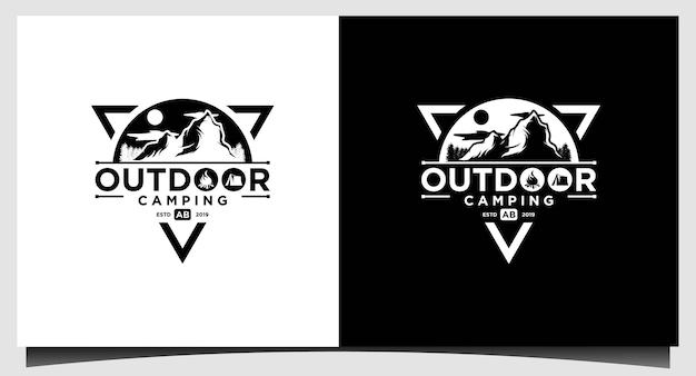 Modèle de conception de logo de camping en plein air de montagne