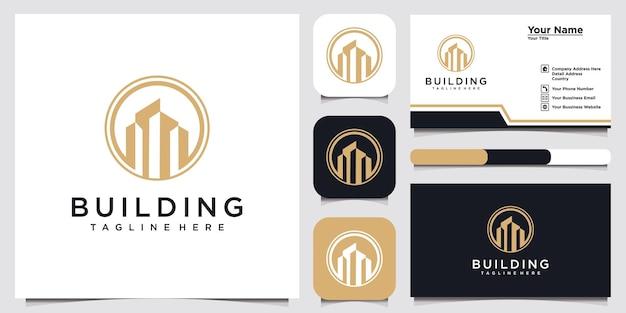 Modèle de conception de logo et de carte de visite de bâtiment