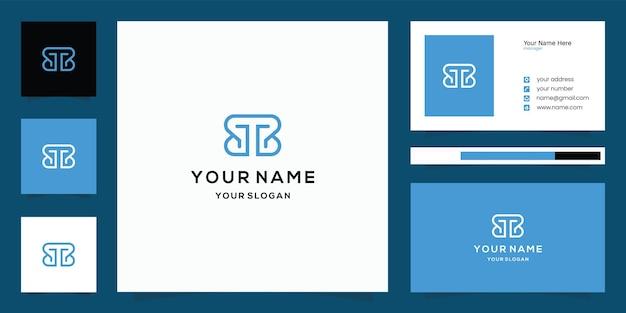 Modèle de conception de logo et carte de visite lettre tb