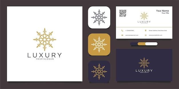 Modèle de conception de logo et de carte de visite de luxe avec mandala ornemental de luxe vecteur premium