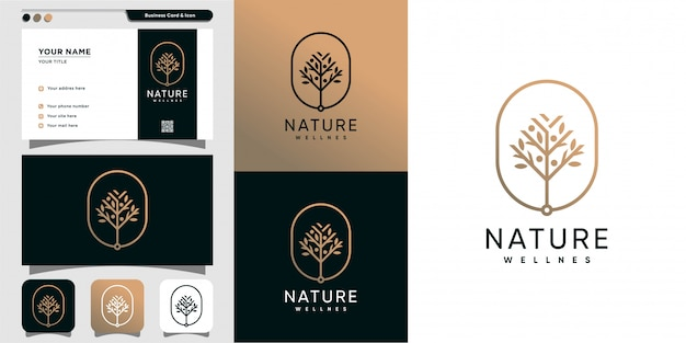 Modèle de conception de logo et carte de visite nature, beauté, santé, spa, yoga