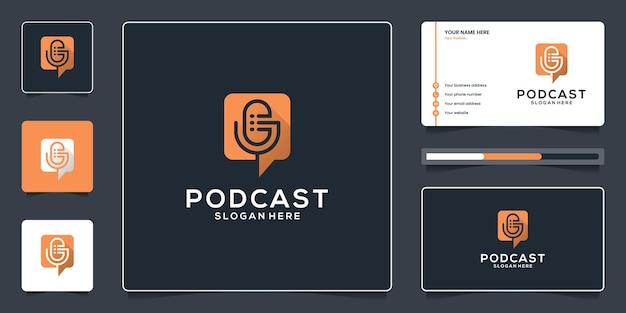 Modèle de conception de logo et de carte de visite de podcast de chat à bulles