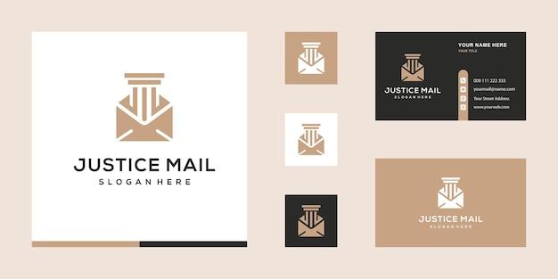 Modèle de conception de logo et de carte de visite pour le cabinet d'avocats justice mail