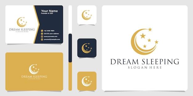 Modèle de conception de logo et de carte de visite de sommeil de rêve