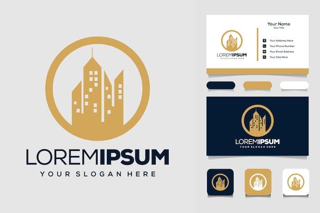 Modèle de conception de logo de cercle et de bâtiment et carte de visite