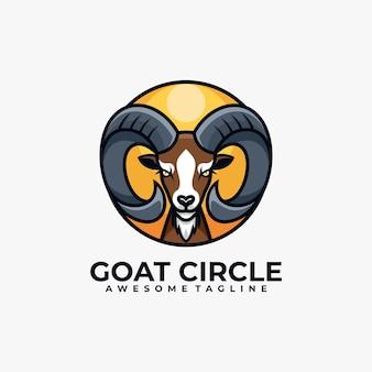 Modèle de conception de logo de cercle de chèvre