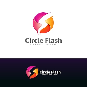 Modèle de conception de logo cercle concept flash