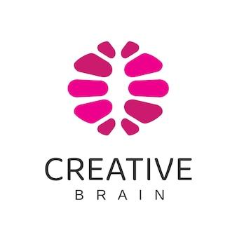 Modèle de conception de logo de cerveau créatif
