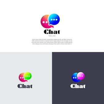 Modèle de conception de logo de chat à double bulle dégradé coloré