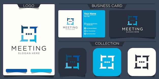 Modèle de conception de logo de chat de groupe social