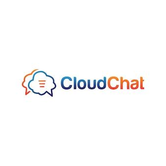 Modèle de conception de logo de chat en nuage