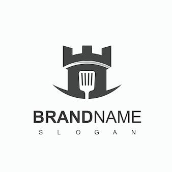 Modèle de conception de logo de château de cuisine