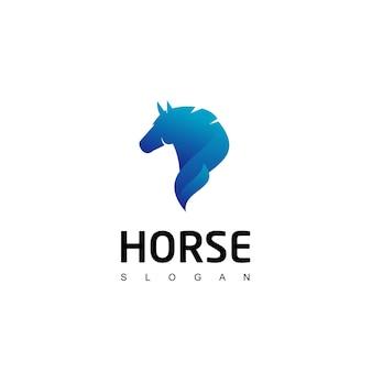 Modèle de conception de logo de cheval bleu