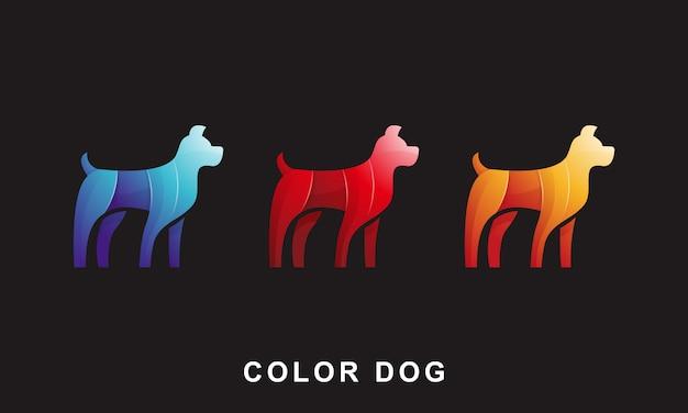 Modèle de conception de logo chien coloré illustration