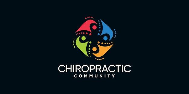Modèle de conception de logo chiropratique et communautaire créatif avec un concept unique vecteur premium