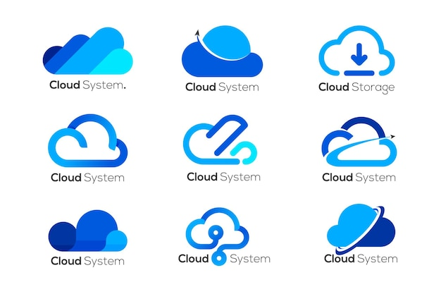 Modèle de conception de logo cloud, 9 logos cloud différents