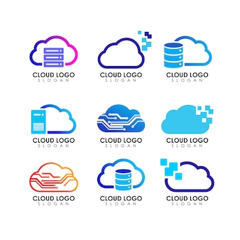 Modèle de conception de logo cloud