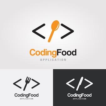 Modèle de conception de logo de codage alimentaire