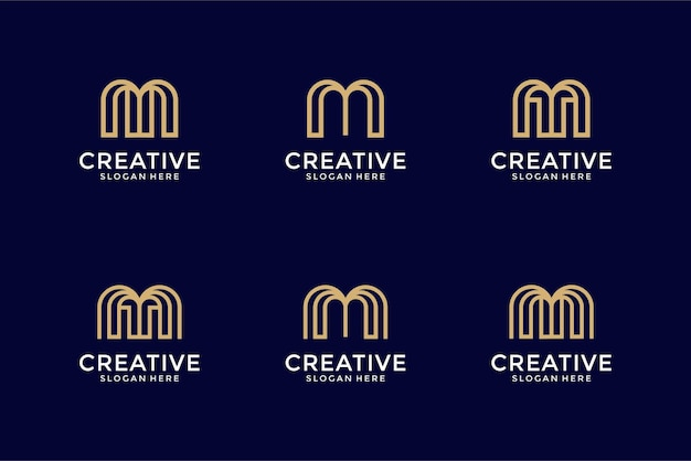 Modèle de conception de logo collection initiales m