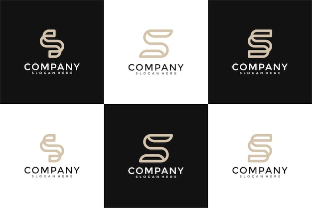 Modèle de conception de logo de collection initiales s