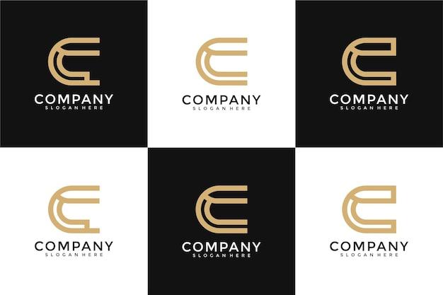 Modèle de conception de logo collection initiales c