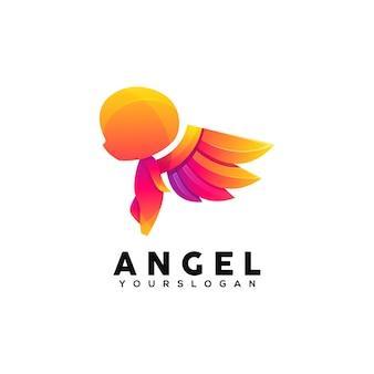 Modèle de conception de logo coloré ange