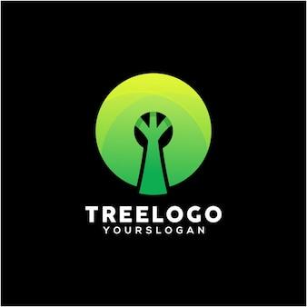 Modèle de conception de logo coloré arbre